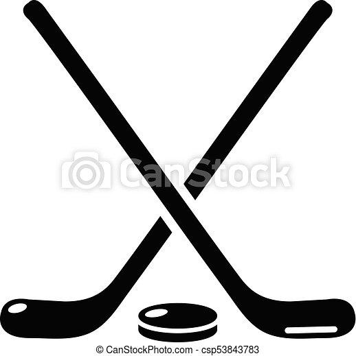 hockey stick icon simple black style hockey stick icon vector rh canstockphoto com crossed hockey sticks clipart hockey stick clip art free