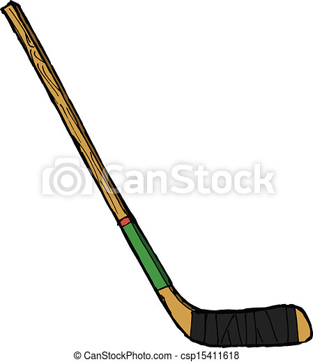 hand drawn vector sketch illustration of hockey stick rh canstockphoto com hockey stick clipart black and white hockey stick clipart