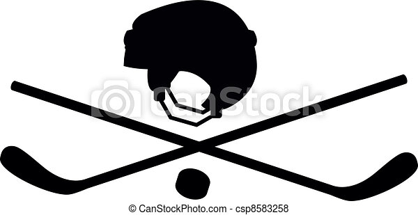 pirate character in the form of hockey sticks and helmets vector rh canstockphoto com hockey stick puck clipart hockey sticks clipart black and white
