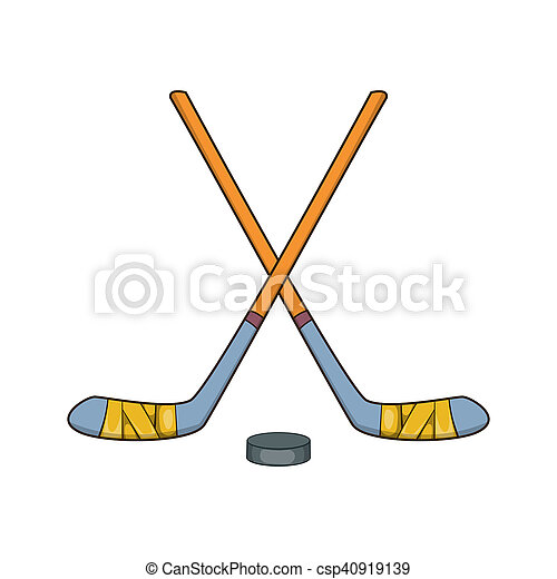 hockey sticks and puck icon cartoon style hockey sticks and puck rh canstockphoto com cartoon ice hockey stick cartoon hockey sticks crossed