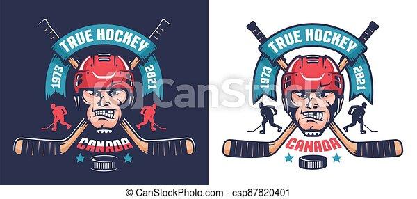 Hockey team emblem with player head and crossed sticks. Retro sport logo. - csp87820401