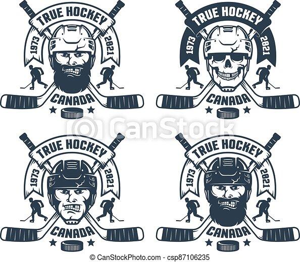 Hockey team logo in retro style - csp87106235
