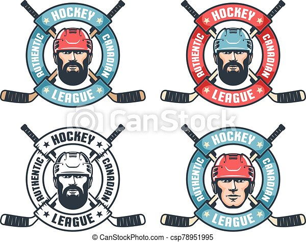 Hockey vintage logo with bearded player, crossed sticks and round ribbon - csp78951995