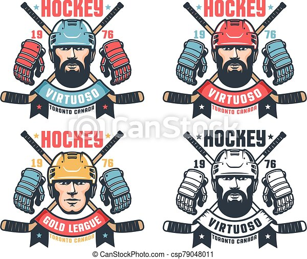 Hockey vintage logo with bearded player, crossed sticks and ribbon - csp79048011