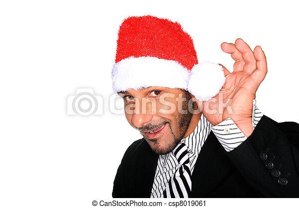 hoedje, kerstman, man - csp8019061