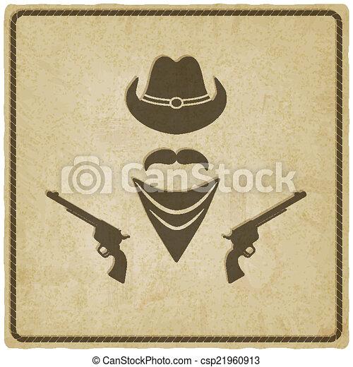 hoedje, oud, geweer, achtergrond, cowboy - csp21960913
