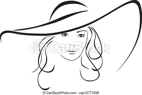 hoedje, vrouw, silhouette - csp10771639
