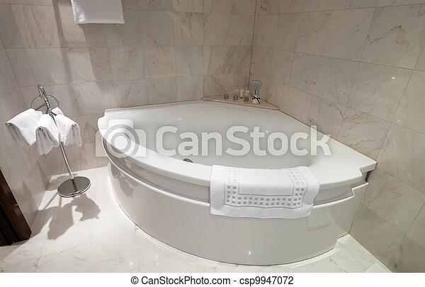 Interieur, hoek, badkamer, ligbad.