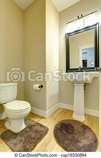 Hoek, badkamer. Toilet, badkamer, bruine , vloer, loofhout, wasbak ...