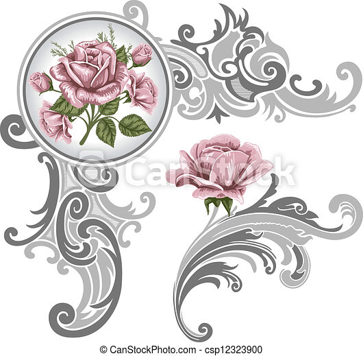 hoek, stuk, ornament, rozen - csp12323900