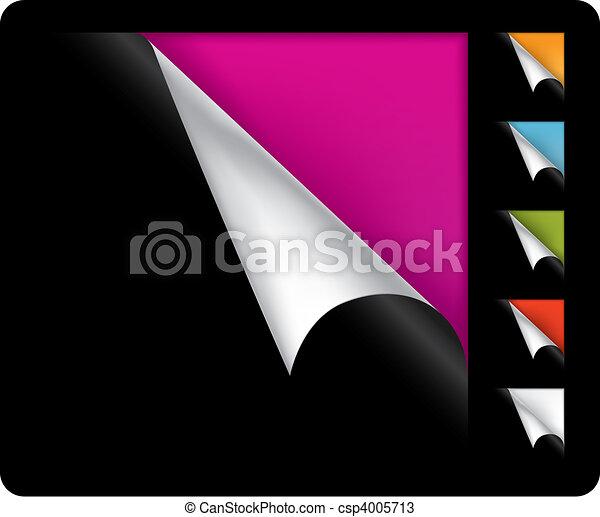 hoeken, vector, pagina, kleurrijke, gekrulde - csp4005713