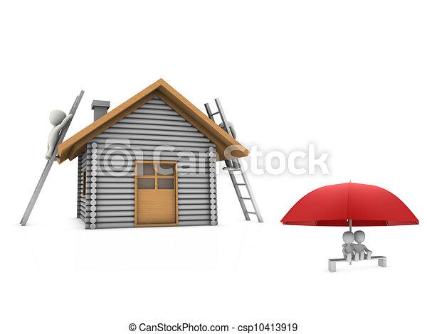 Tres personas en casa - csp10413919