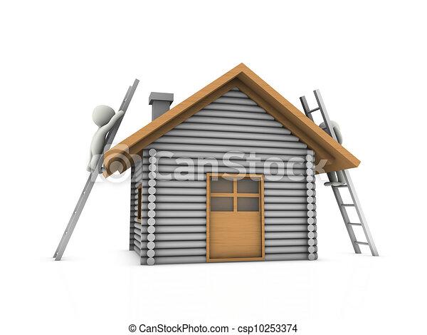 Tres personas en casa - csp10253374