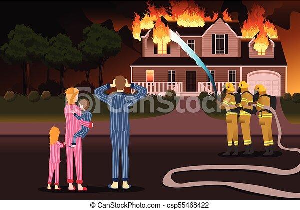 Bomberos apagando fuegos de una casa en llamas - csp55468422