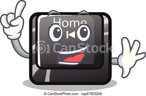 Botón de dedo a casa en forma de dibujos animados - csp67953258