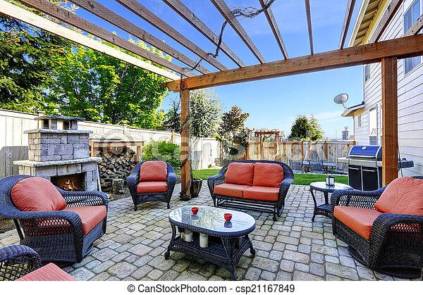 Hogar Chimenea Jardin Patio Area Conjunto Comodo Area Mimbre - Chimenea-jardin
