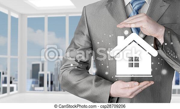 El concepto de seguro de casa. - csp28709206