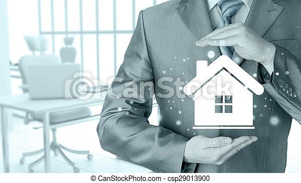 El concepto de seguro de casa. - csp29013900
