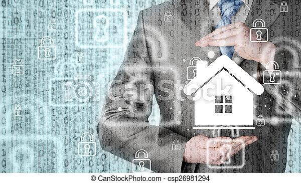 El concepto de seguro de casa. - csp26981294