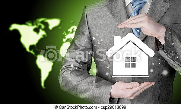 El concepto de seguro de casa. - csp29013899