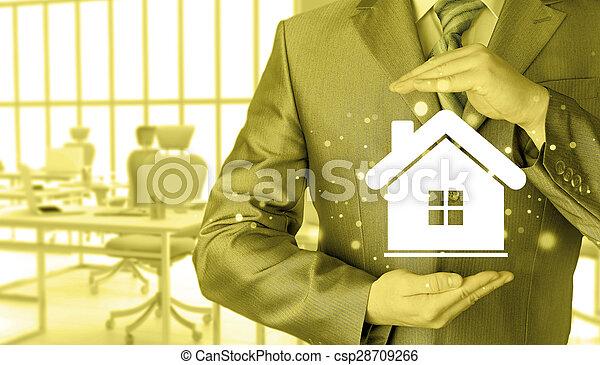 El concepto de seguro de casa. - csp28709266