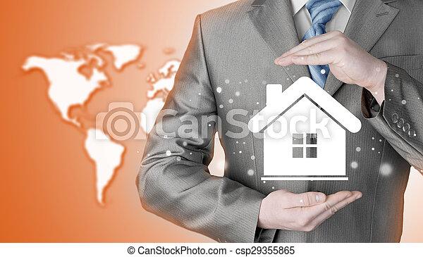 El concepto de seguro de casa. - csp29355865