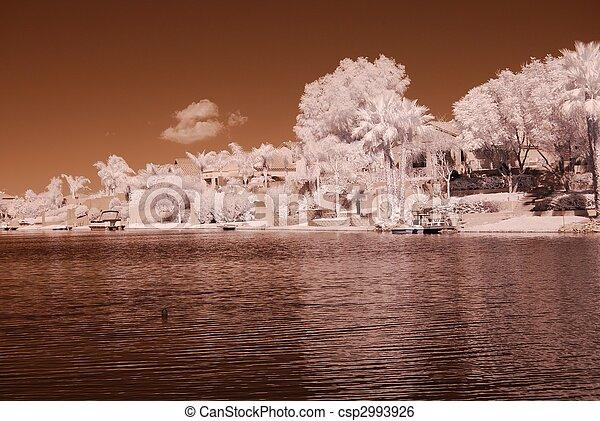 La casa del lago del desierto - csp2993926