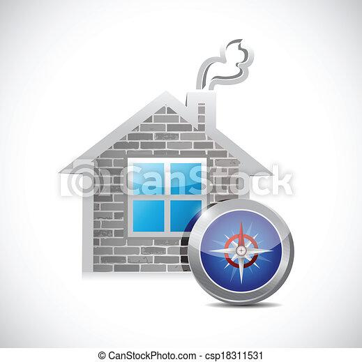 Diseño de ilustración de la casa y la brújula - csp18311531