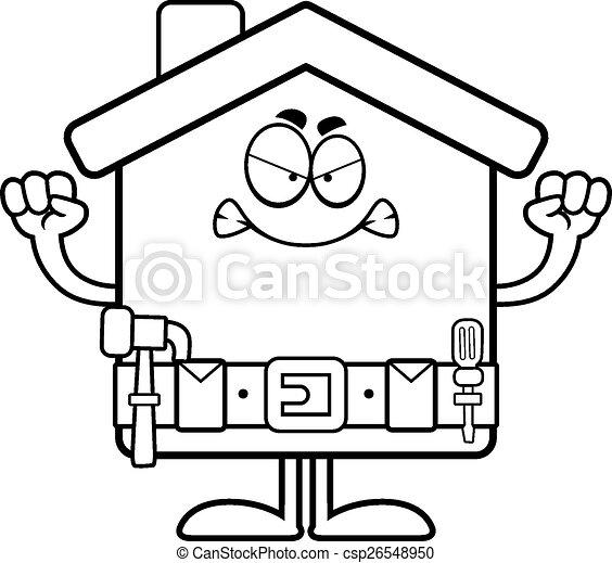 Mejora hogar de dibujos animados enojados - csp26548950