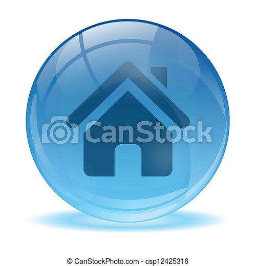 El icono de la esfera de vidrio 3D - csp12425316