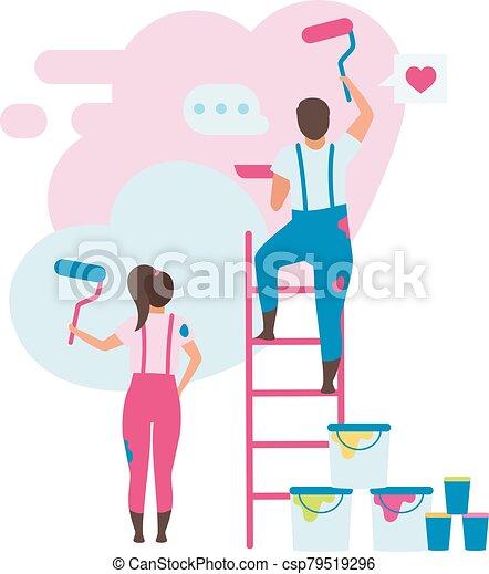 hogar, esposa, escoger, familia , character., caricatura, doméstico, espacio, plano, decorar, illustration., painting., renovación, diseño, vector, casa, pared, color, interior, apartamento, reconstruction., marido - csp79519296