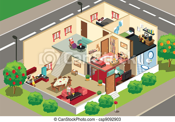 Gente en casa - csp9092903