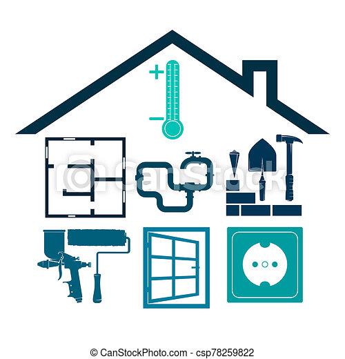 hogar, mantenimiento, símbolo, construcción, reparación, empresa / negocio - csp78259822