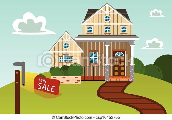 Casa moderna con cartel de venta - csp16452755