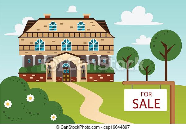 Casa moderna con cartel de venta - csp16644897