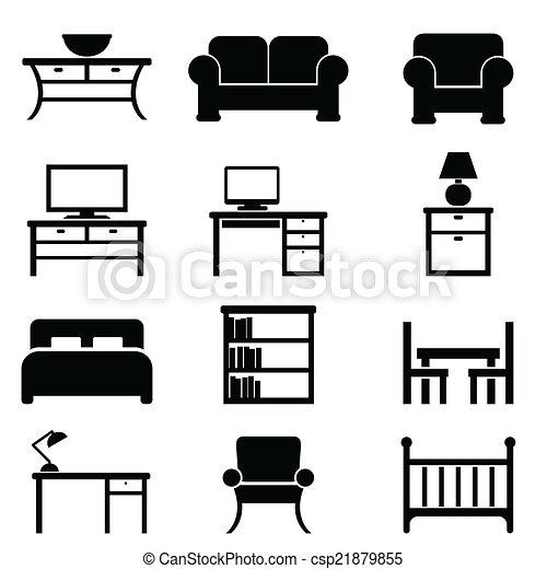 Hogar, muebles, iconos. Hogar, conjunto, negro, icono,... vector de ...