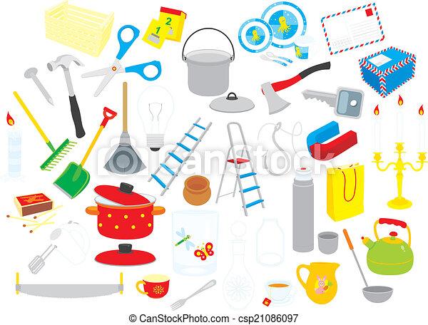 Hogar objetos clip arts utensilios vector plano de for Utensilios de hogar