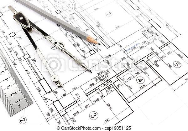 Planos caseros y brújula - csp19051125