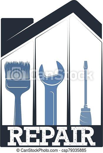 hogar, símbolo, caja, herramienta, reparación - csp79335885