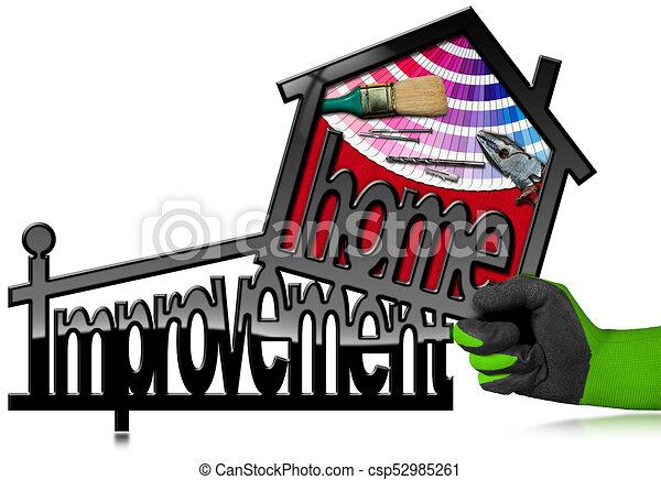 Simbolo de mejora con herramientas de trabajo - csp52985261