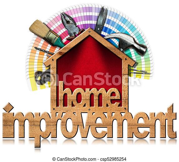 Simbolo de mejora con herramientas de trabajo - csp52985254