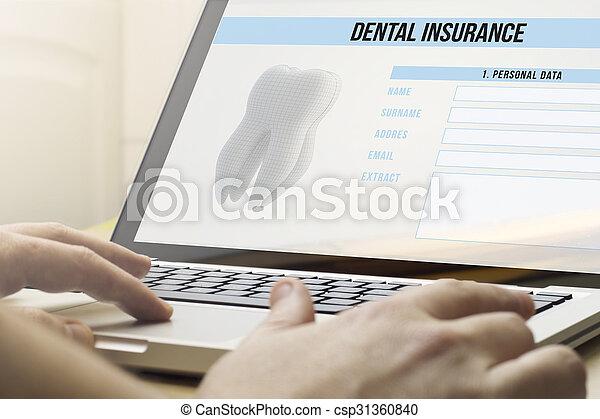 Seguro dental de computación casera - csp31360840