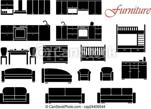 Hogar, variado, conjunto, muebles. Silueta, variado, sofá, cocina ...