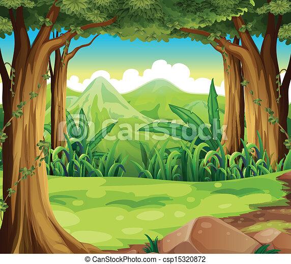 hoge bergen, groen bos, door - csp15320872