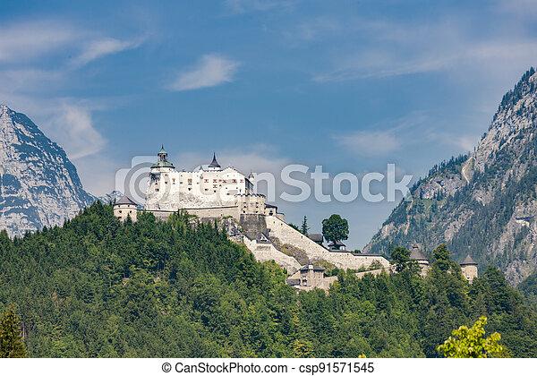 Hohenwerfen Castle in Alps, Austria - csp91571545