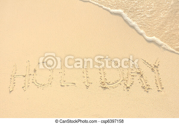 Hoilday Written in Sand on Beach - csp6397158