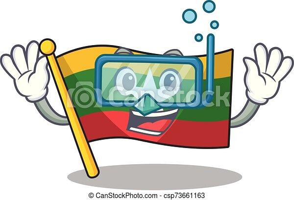 hoisted, caricatura, bandera, era, buceo, poste, myanmar - csp73661163