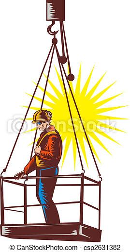 hoisted, woodcut, être, ouvrier, haut, plate-forme, construction, fait, retro, style. - csp2631382