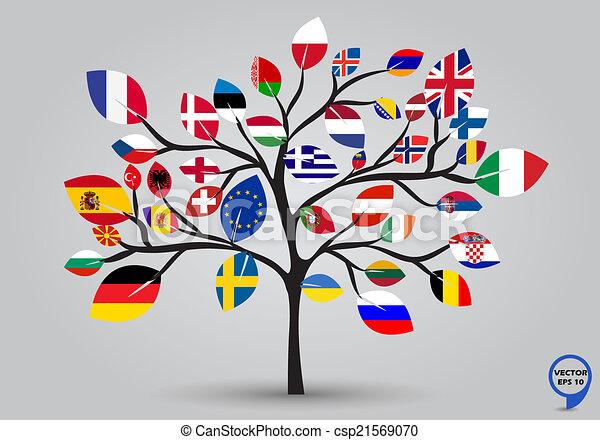 Banderas de Europa en diseño de árboles - csp21569070
