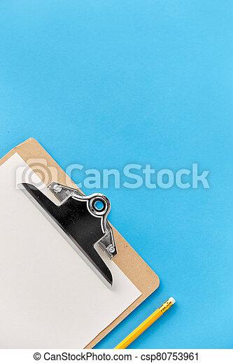 hoja, blanco, papel, portapapeles, lápiz - csp80753961